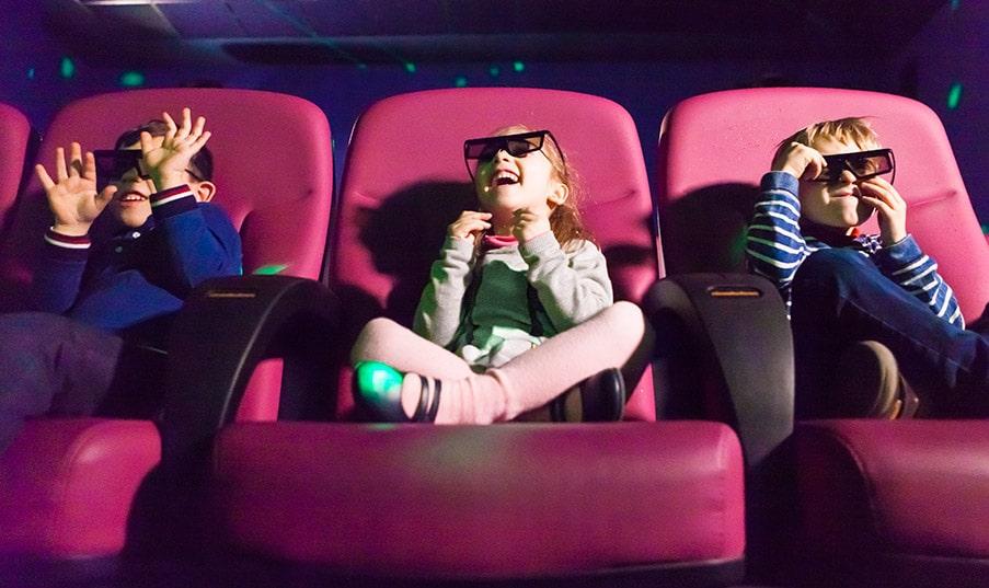Kids watching 4D film